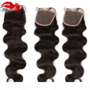 Hannah Product Body Wave 4x4 Silk Base Closure Peruvian Human Hair Extensions 130% Density Bouncy Wave Closure with Baby Hair