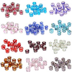 19 color Big Hole Glass crystal beads charm Findings Loose Spacer craft European Silver beaded with 925 lx0378