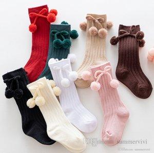 Toddler kids pompon Bows socks baby girls 3 4 knee high princess sock christmas newborn cotton warm legs children vertical knitted sox Q2531