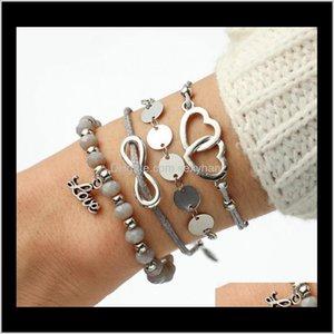 Bracelets Drop Delivery 2021 Bohemian Charm Letter Heart Love Bracelts For Women Natural Stone Multilayer Bracelet Set Fashion Party Jewelry