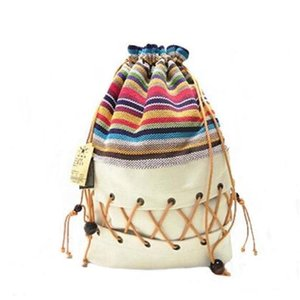 Backpack Original Ethnic Canvas Sack Pack Lady Cotton Printed Colorful Teenage Straw String Follow Out Strip