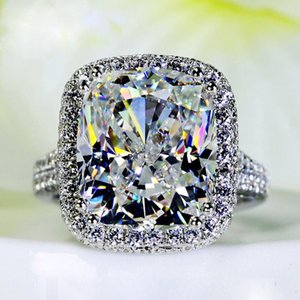 Cluster Rings Big Zircon Bling Stone S925 Sterling Silver Color For Women Engagement Wedding Fashion Jewelry High Quality Gift 2021