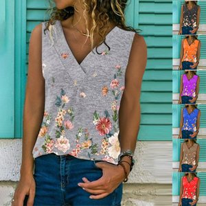 printing loose Women's V-neck 2021 top summer new fashion sleeveless vest for women