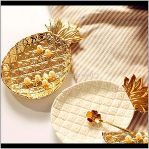 Decorative Plates Creative Gold Ceramic Storage Tray Golden Pine Jewelry Food Pallet Dry Fruit Home Decoration Plate Kycor 2Si6M