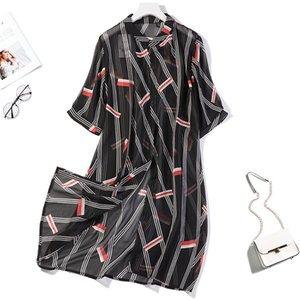 blouses Women's 100% Silk black print Long Thin Top Kimono Cardigan Shawl Coat Blouse Summer Beach Cover Up one size JN146