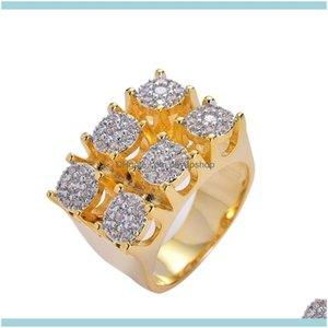 Solitaire Rings Jewelryhip Hop Mens Iced Out Gold Plated Zircon Copper Ring Men Women Charm Luxury Jewelry Drop Delivery 2021 Maduk