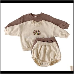 Sets Baby Boys And Girls Clothing Kids Casual Long Sleeve Rainbow Pullover Sweatshirt Tops Shorts Children Clothes Set 201023 80Eg Hdpvv