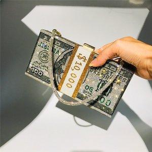Money Clutch Rhinestone Purse 10000 Dollars Stack of Cash Evening Handbags Shoulder Bag Wedding Dinner Bag