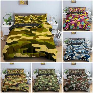 Camouflage Pattern Dovet Cover Bedging Set Классическая одежда в стиле маскировка камуфляж камуфляж печать одеяло утешитель наволочки дома