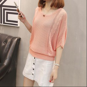 Womens Sweater Hollow Out Summer Women Knitted Pullover Tops Causal Loose Girls Half Sleeve Ladies Jumper Thin Cool Pullovers Sweaters