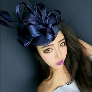 Freeshipping Fashion Elegant Ladies Fascinator Royal Fascinator Lino Santi Bridal Feather Sombrero Horquillero Clips Fiesta Accesorios para el cabello-YYY 210329