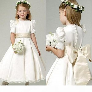 2019 Vintage Satin Flower Girl Dress Jewel Neck Ankle Length Bubble Short Sleeves Lace Ivory Communion Dresses with Bow Sash