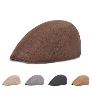 Boina británica retro lino pato de pato boinas de color sólido sombrero de avance casual sombreros de moda para hombres y otoño casquillo de mediana edad WMQ899