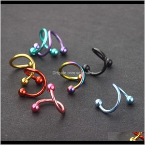 Rings Studs Body Jewelry Drop Delivery 2021 Double Head Ball Bone Tragus Thread Temperament Small Ear Screw Nail Nose Ring Trendy Mens And Wo