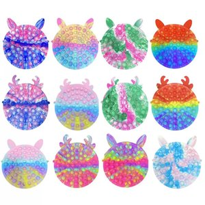 Tie Dye Finger Popping Sensory Bubble Push Decompression Toys Fidget Pop Dimples Anxiety Autism Reliever Antistress Popper Games Christmas Shoulder Chain Bags