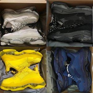 أحذية رياضية من Designers Paris 17FW Triple S للرجال والنساء أحذية غير رسمية ثلاثية شفافة نعل أبيض وأخضر وأسود بألوان قوس قزح أحذية رياضية خارجية للأب أحذية فاخرة للمدربين