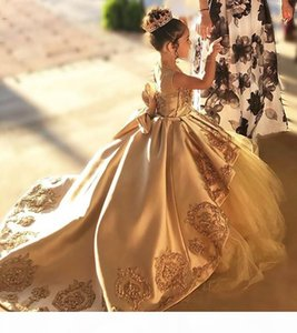 Vintage Gold Tulle Flower Girls Dresses First Communion Dress Kids Toddler Evening Prom Ball Gown Brithday Party Bow Girl Long Pageant Dress