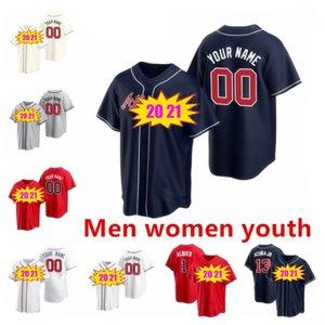 مخصص 2021 أتلانتا البيسبول جيرسي 13 رونالد أكونا JR 5 فريدي فريمان 7 دانسبي سوانسون 24 deion ساندرز الرجال امرأة الاطفال الفانيلة الشجعان