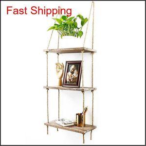Swing Storage Shelves Wood Hanging Shelf Rope Organizer Rack Wall Decor Retro Style Home Decoration Uneic Qihec G46J
