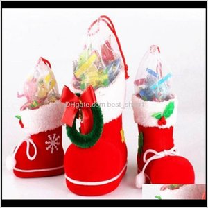 Decorations Festive Party Supplies Home & Garden Drop Delivery 2021 Merry Christmas Santa Boot Shoes Stockings Hanging Candy Gift Bags Xmas T