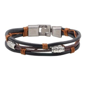 Classic Retro Charm Bracelet Mens Womens Black Brown Braided Rope Leather Cord Wrap Wristband Bracelets