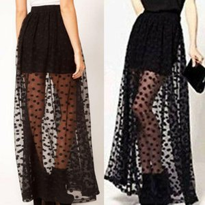 Skirts Casual Women Elastic High Waist Ruffle Polka Dots Mesh Long Tutu Skirt Sheer Tulle Net Party