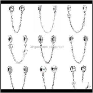 Loose Beads Drop Delivery 2021 Sier 925 Sparkling Clear Sparkle Flower Safety Chain Charm Bead Fit Original Bracelet Pendant Diy Jewe