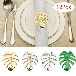 Napkin Rings 12 Pcs Leave Set Gold Ring Holders Buckle Wedding Towel Kitchen Party Dinner Table Decoration