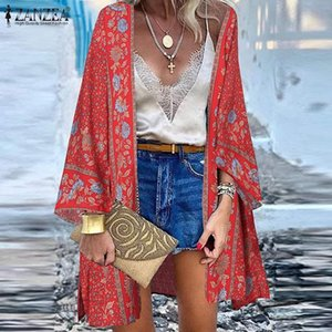 Women's Blouses & Shirts Summer Bohemian Floral Printed Vocation Blouse ZANZEA Elegant Open Front Beach Cardigan Women Kimono Long Sleeve Sh
