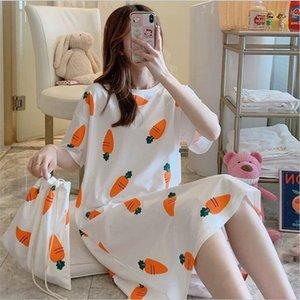 Sondr النساء قصيرة الأكمام ملابس النوم القطن ليلة العباءات الصيف الكرتون قمصان النوم الرئيسية ارتداء الفتيات النوم صالة النوم