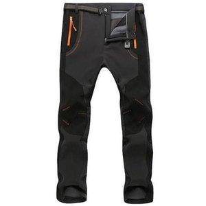 Otoño invierno pantalones de vellón grueso hombres al aire libre cálido impermeable impermeable impermeable transpirable pantalón pantalones deportes senderismo cargar