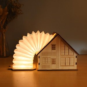 Table Lamps Creative Lamp American Style House Shape USB Charging Eye Protection Home Decoration