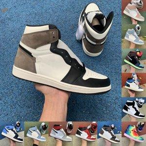 Hyper Royal Basketball Chaussures 1S Jumpman 1 Université Blue Dark Moka Obsidian Silver Toe Mens Baskets Travis Scotts Femme Femme Sports Taille 36-46