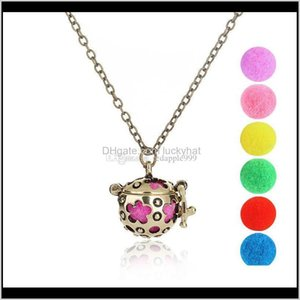 Necklaces Cage Ball Design Aromatherapy Locket Sierbronze Color With Flower Pattern Pendant Essential Oil Diffuser Necklace For Abnwr Udylt