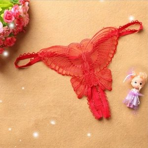 Men's and women's clothingThongs Butterfly Crotchless Lace Micro Women Open g Strings Transparent Ladies Panties Sexy Underwear Femme Ouvert XHYZQX