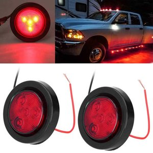 Emergency Lights 1 Pair 4LEDs Round Side Markers 2000-4000K Red Lens Mini Sidelights For Truck Trailers Wagon Boat Automotive Exterior