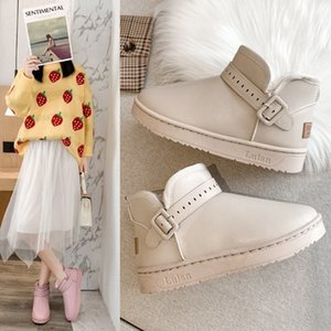 Flat Platform Ankle Boots for Women Shoes Woman Warm Plush Snow Boots Buckle Strap Slip on Winter Boots Botas Mujer Plus Size C0410