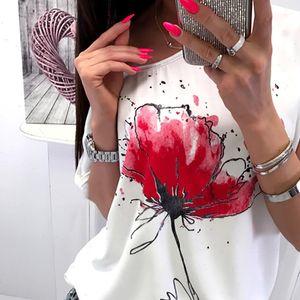 Fashion Women Casual Womens Blouses Floral Print Blouse Female Short Sleeve Loose Shirt Tee Modis roupas feminina
