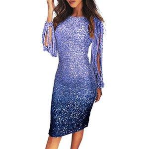 Zarif Sequins Akşam Parti Elbise Kadın Bodycon Kalem Parlak Saçak Püsküller Kol Midi Lady Resmi Günlük Elbise Için