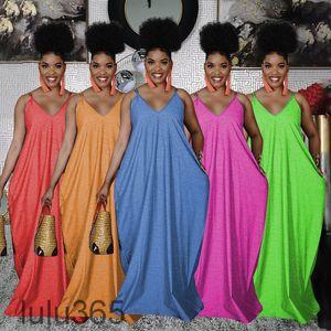 Women Casual Dresses 2021 summer New Designer Fashion women's Solid color adjustable sling loose Imitation cotton deep V one-piece skirt lulu365