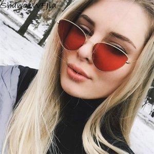 2021 Red cat eye sunglasses women clear lens sun glasses for women cat eye metal pink yellow uv400