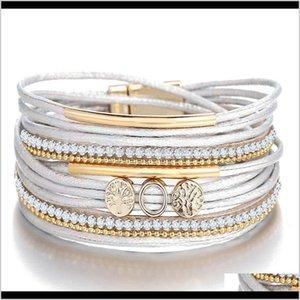 Charm S1261 Fashion Jewelry Bracelet White Multilayer Pu Leather Bangle Magnetic Clasp Bracelets Wkhn1 Ytpts