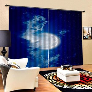 Curtain & Drapes Blue Sky Moon Print Bedroom Living Room Windproof Thickening Blackout Curtains 3d