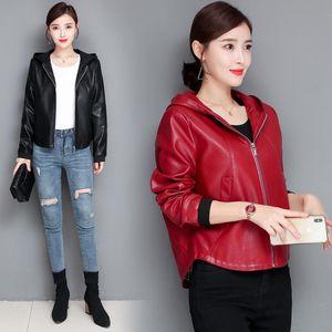 Large Size 3XL 4XL Women's Leather Jacket 2021 Spring Motorcycle Women Coat Female Jackets Outerwear & Faux