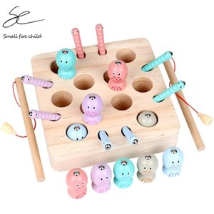 Baby Wooden Montessori Toys Digit Magnetic Games Fishing Toys Game Catch Worm Educational Puzzle Toys For Children Gifts 210901
