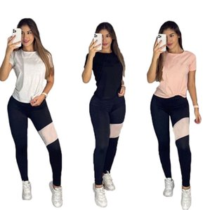 Women Summer jogger suit short sleeve outfits causal tracksuits white T-shirts+pants leggings 2 pieces set plus size S-2XL track suits black sportswear 4771