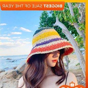 Papel de moda Paja Colorido Arco iris Llano Playa Playa Sombrero Sombrero Sombrero Plegable Sombreros para Mujeres J0226