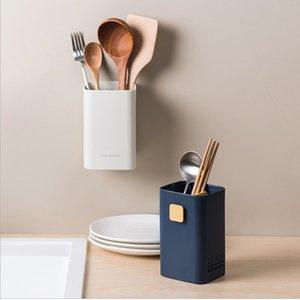 Importação luz de luxo plástico multi-funcional garfo cozinha barril parede pendurado gaiola drenagem prateleira suportar utensílios de uso doméstico colher chopsticks armazenamento caixa