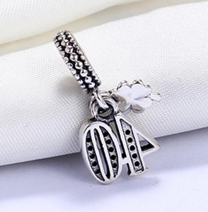 Sterling Silver Not Plated Number 40 CZ Charm European Charms Beads Fit Pandora Snake Chain Bracelet DIY Jewelry ps2044