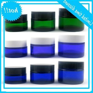 20G 30G 50G 1OZ blue green purple cream cosmetic container jar black white lid screw cap glass bottle pot box 10pcs